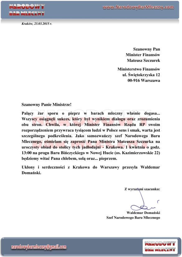 Zaproszenie do Krakowa Narodowy Bar Mleczny-1